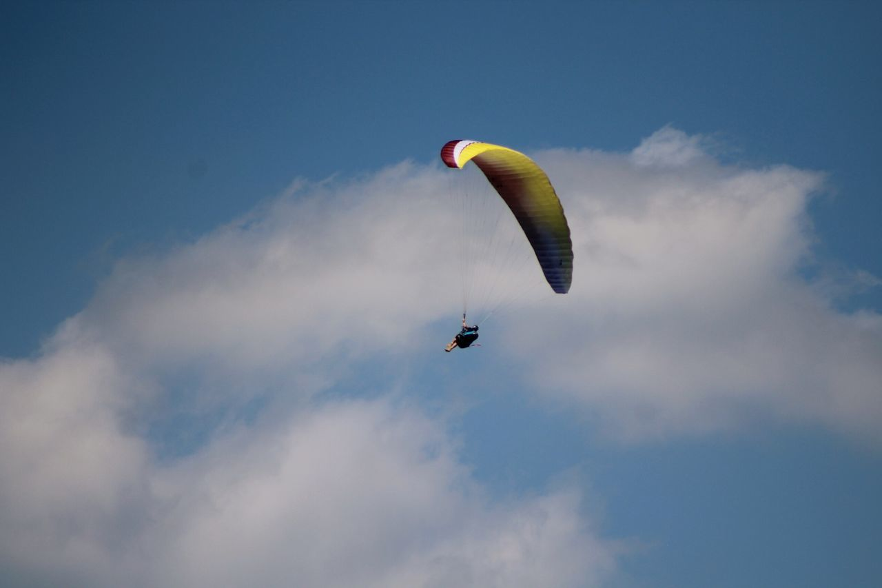 Flying Mid-air Extreme Sports Gliding Paragliding Multi Colored Air Vehicle Sky Stunt Person Sports Activity Piloting Motion Expertise Danger Wind Outdoor Pursuit Headwear Sports Helmet Full Length Aerobatics Sommergefühle Breathing Space
