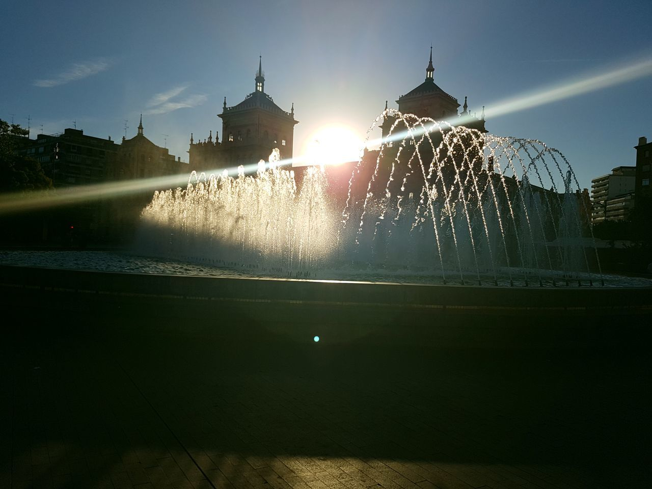 Fuente❤Agua Fountain Motion Illuminated Water Architecture Building Exterior Spraying Lens Flare Sun Sky Glowing Sunbeam Nature Outdoors Sparks Lit Tranquil Scene Scenics No People Shining