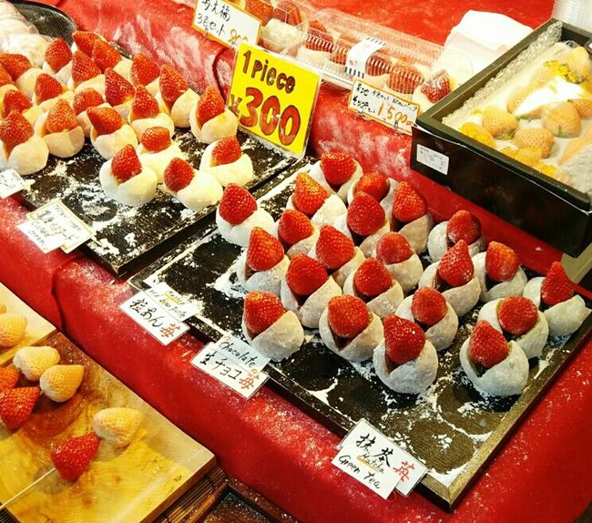 Not only seafood dessert also sell Taking Photos Yumilicious Mochi Strawberry Sweets @tsukiji