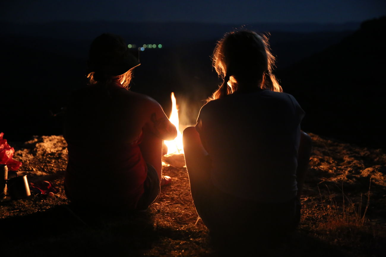 Adult Connection Females Freshness Friendship Horizontal Igniting Illuminated Nature Night Outdoor Outdoors Party - Social Event People Person Rear View Relaxation Sky Sunset Teamwork Togetherness Two People Unity Young Adult