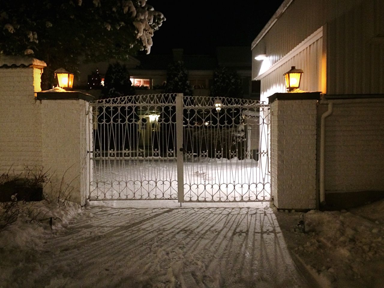Welcome home. Gate Gated  Night Illuminated No People Architecture Building Exterior Built Structure Snow Outdoors Sweden Dalarna Secure Home Fresh On Eyeem