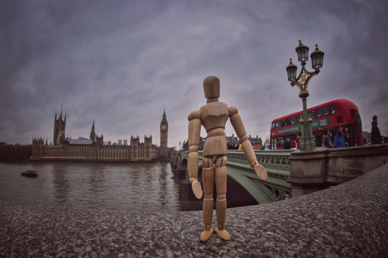I missed my bus while posing... Creativity Architecture Sky And Clouds London Big Ben Red Bus Westminster Bridge - Man Made Structure Woodyforest Mannequin Travel Destinations Tadaa Community Cityscapes Thames