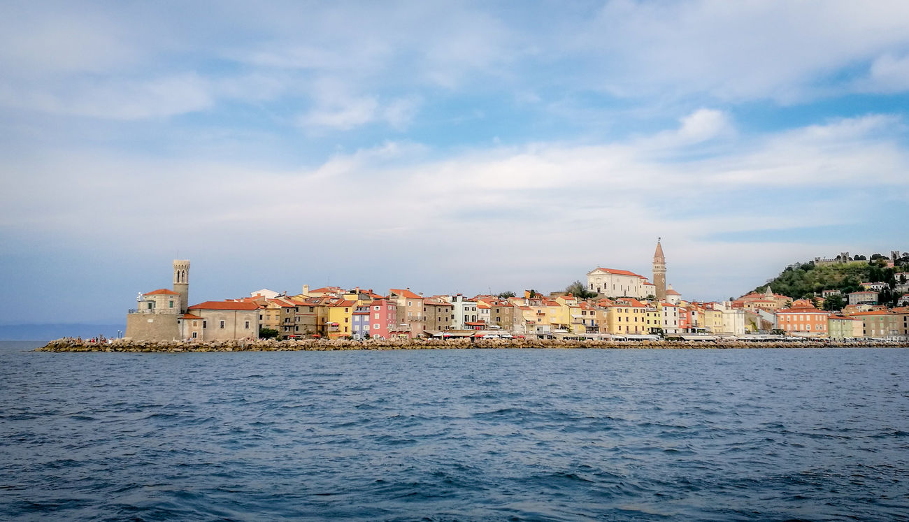 City of Piran from sea Piran Hometown City Coastline Water Sea Slovenia