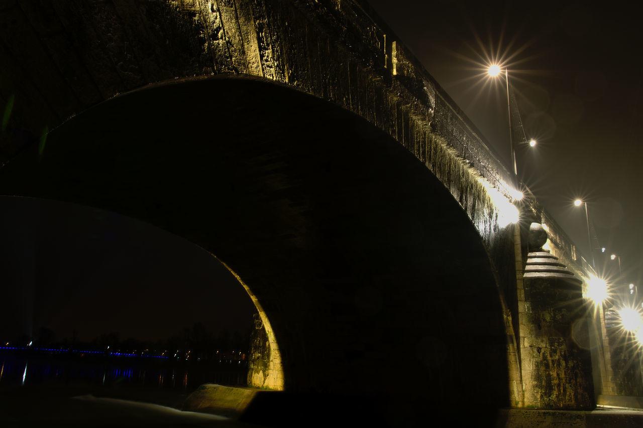 Arch Arch Bridge Bridge Bridge - Man Made Structure City Lights Diminishing Perspective Lens Flare Low-angle Shot Nightphotography Shiny
