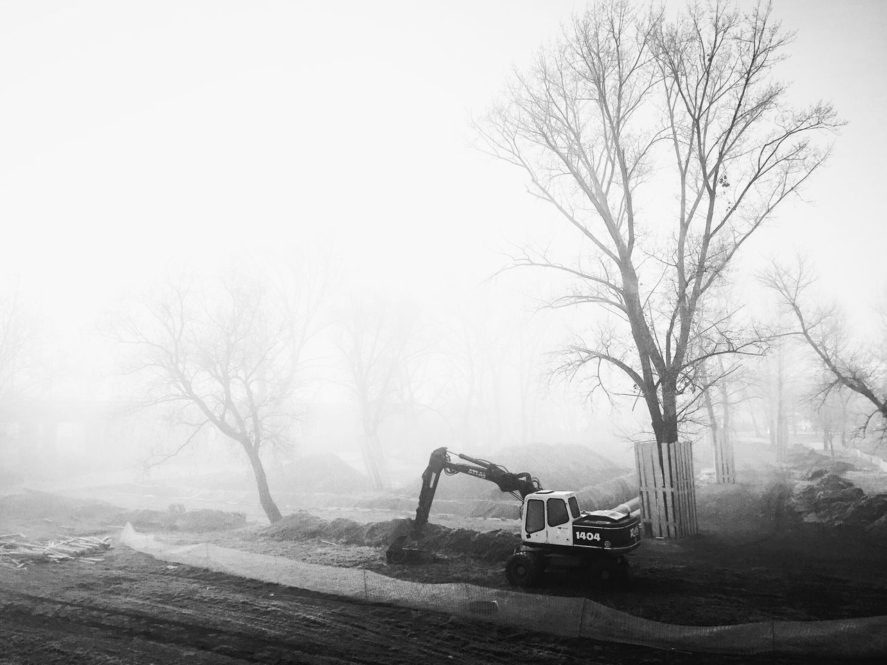 Renovations near Bundek Park, Zagreb, Croatia, 2016. Renovations Construction Bundek Park Zagreb Croatia Fog Morning Mist Early Morning Trees Foggy Quiet Serenity Calm Land Vehicle Construction Machinery Machine Adapted To The City