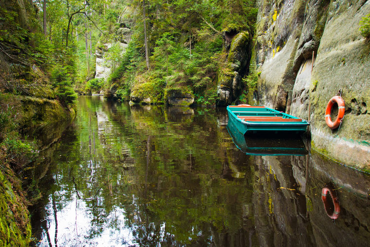Adršpach Adršpachské Skály Beauty In Nature Boat Day Lake Mode Of Transport Moored Mountain Nature Nautical Vessel No People Oar Outdoors Pedal Boat Reflection Rock - Object Rowboat Scenics Tranquil Scene Tranquility Transportation Tree Water Waterfront