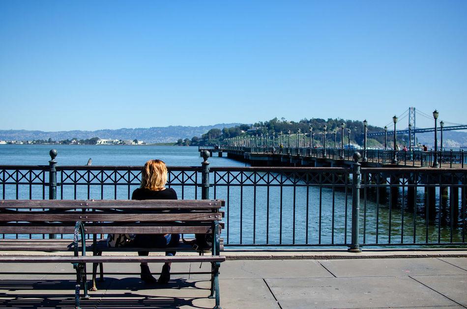 Beautiful stock photos of san francisco, Architecture, Bench, Blue, Bridge - Man Made Structure