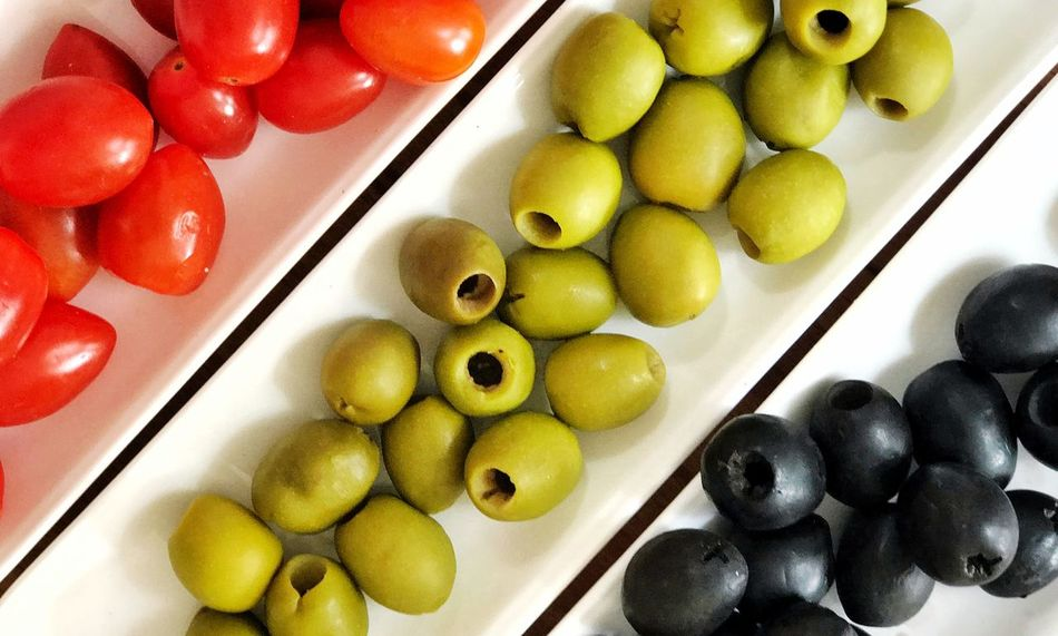 Flat-lay colourful food Colourful Food Still Life Food Flat Lay Food And Drink Food Healthy Eating Bowl Indoors  High Angle View Olive Freshness Close-up Ready-to-eat Fruit No People Black Olive Day Food Stories