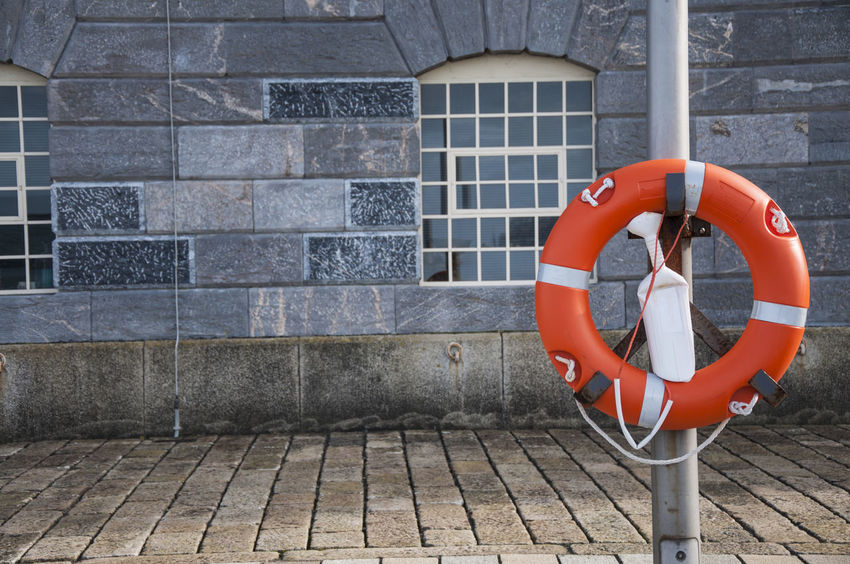 Beach Bricks Buoyancy Ring Cobblestone Empty Space House Life Buoy Life Donut Life Preserver Lifebelt Lifebuoy Lifeguard  Lifering Lifesaver Negative Space Plymouth Ring Buoy River Saftey Window