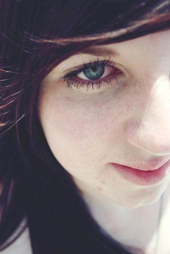 JustMe(:  Freckle Here, Freckle There Out Of Focus Green Eyes Wind In My Hair Eyeem Market Depth Of Field