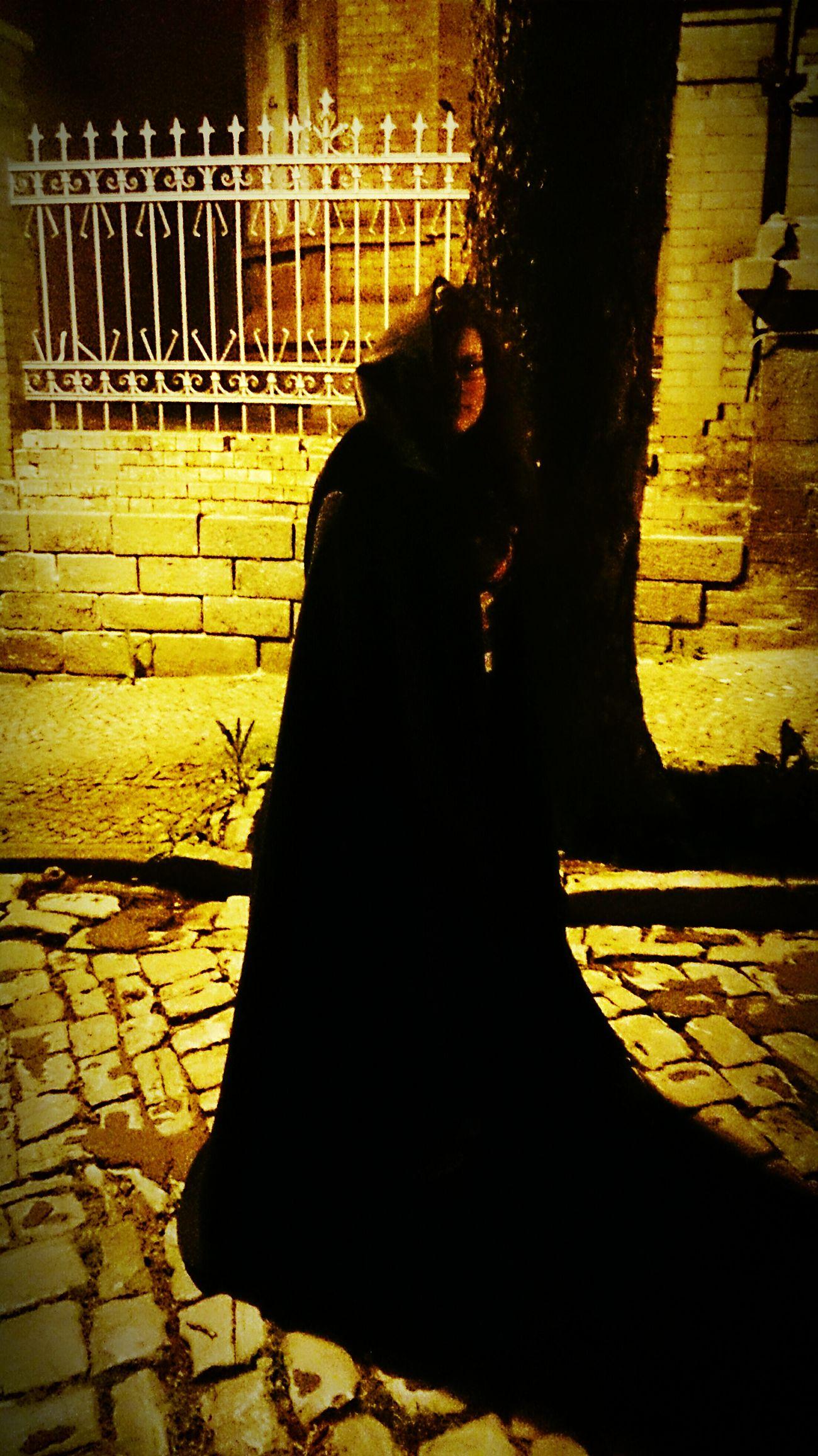 My little cousine in a beautiful cloak Portrait Of A Woman Beautiful Girl Evening Street Street Light First Eyeem Photo