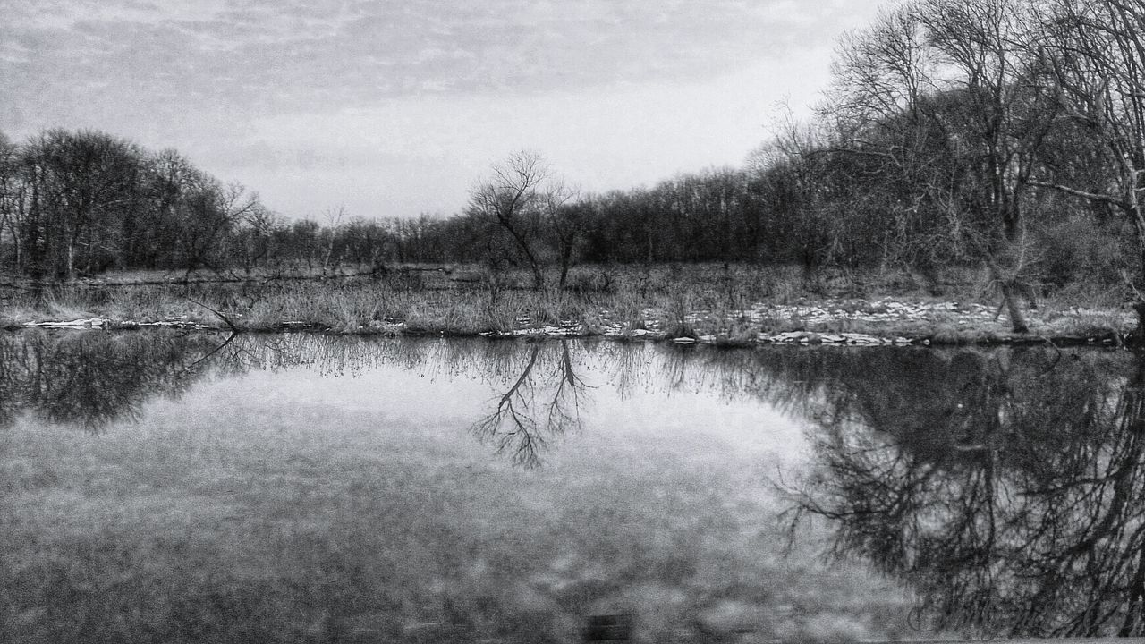 The Beginning of a Black and White Spring... Landscape_photography Eye4black&white  Black And White Blackandwhite Water Reflections EyeEm Nature Lover Water_collection Bw_friday_challenge Melancholic Landscapes For My Friends That Connect