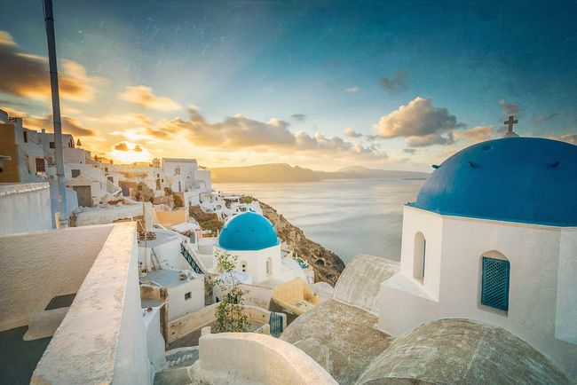 Blue & Gold Santorini Oia Greece Sunrise Holiday Sun Holiday In The Sun Holiday Decorations Landscape Photography Blue Sky Sunny Day Long Exposure Clouds And Sky Sunshine Santorini Greece Beautiful Nature Warm Day Warm Sun The Architect - 2016 EyeEm Awards