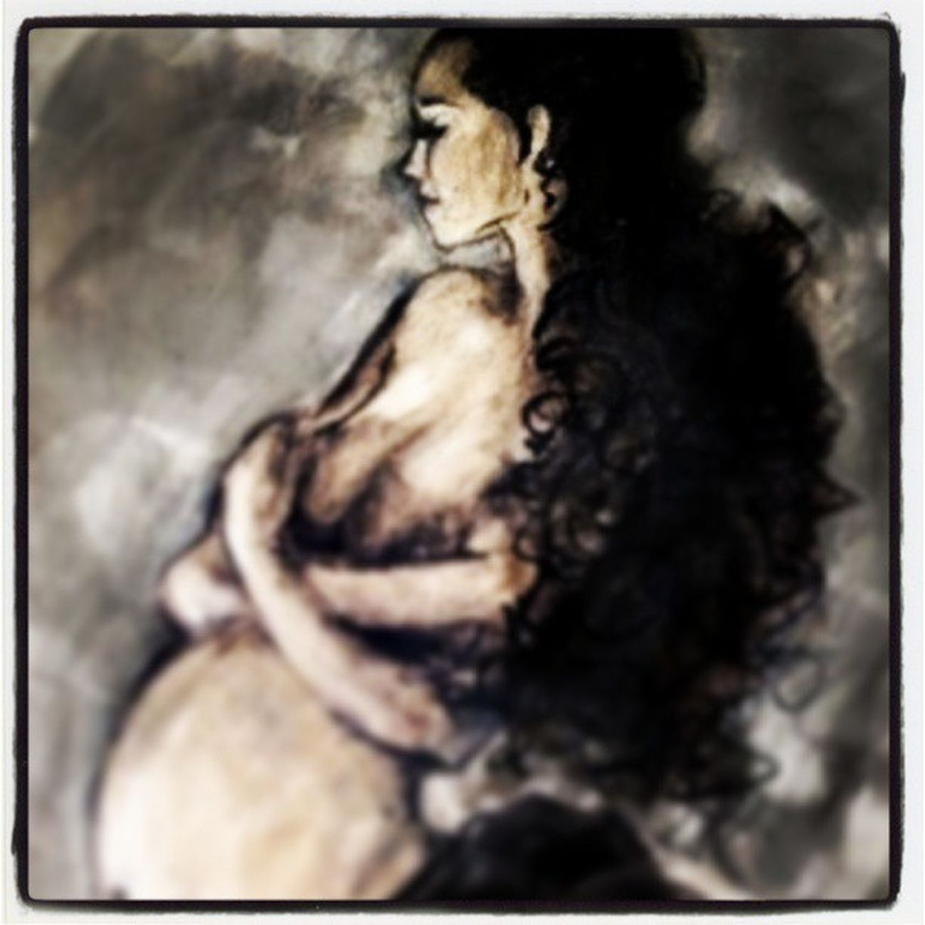 """Embraced"" Pregant Glow Photoshop Digital illustration painting longhair Latin hispanic joy calm beauty quiet grey skirt curly ethnic belly smile nude bare exposes thoughtful slender black contortion art print romance poetic"