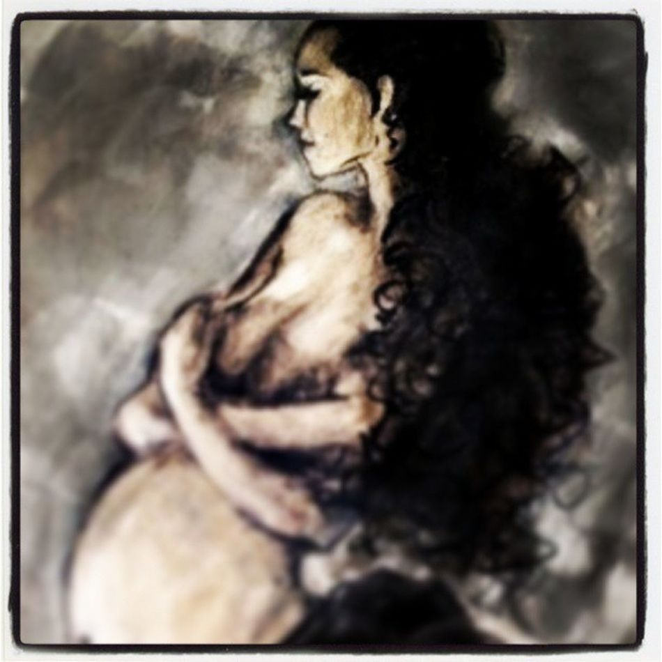 """Embraced"" Pregant Glow Photoshop Digital illustration painting longhair Latin hispanic joy calm beauty quiet grey skirt curly ethnic belly smile nude bare exposes thoughtful slender black contortion art print romance poetic"