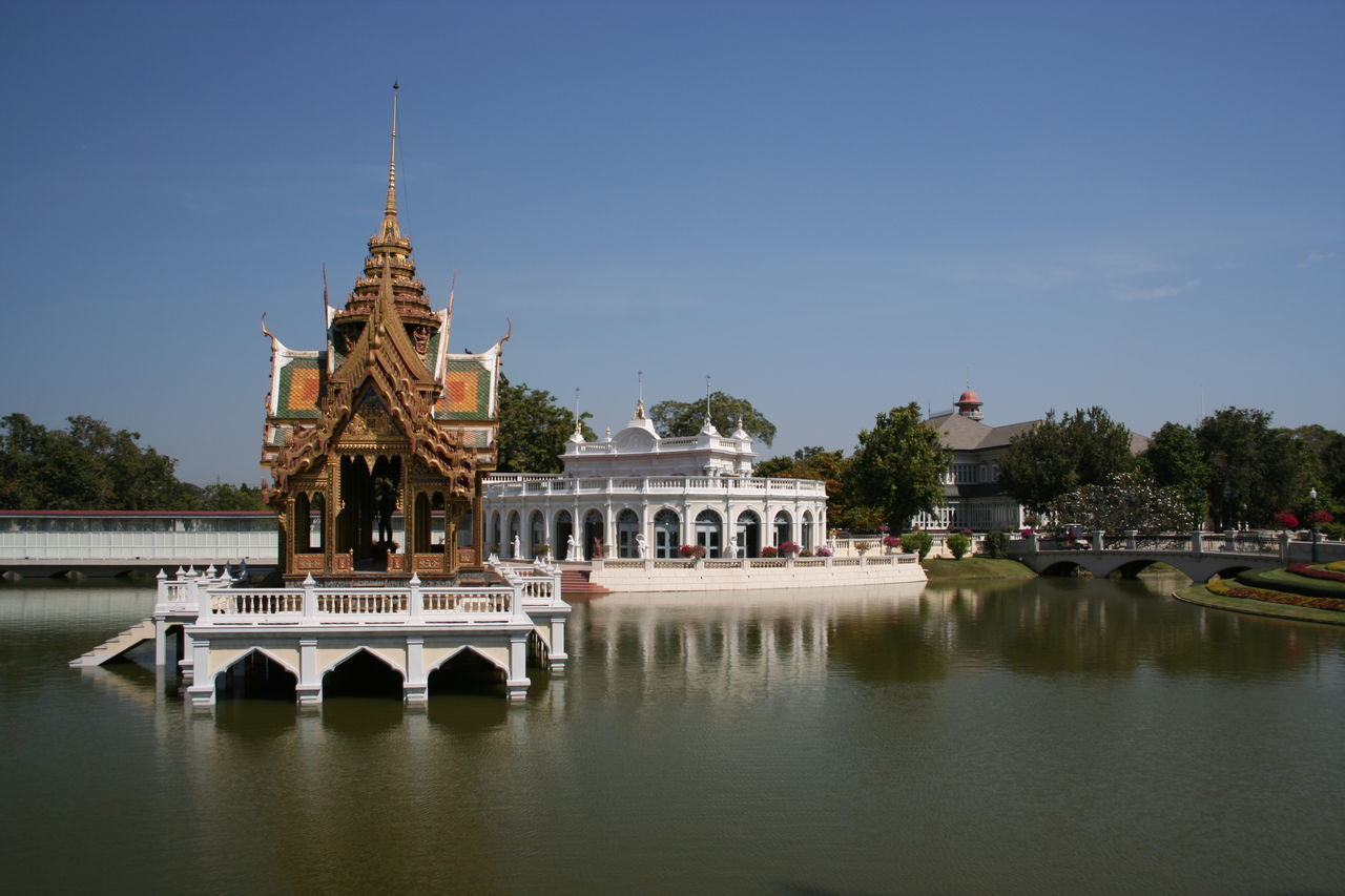 Architecture Bang Pa In Summer Palace Building Exterior Built Structure Clear Sky Dome Famous Place History Spirituality Spotted In Thailand Temple - Building Thailand Tourism Travel Travel Destinations Water Waterfront