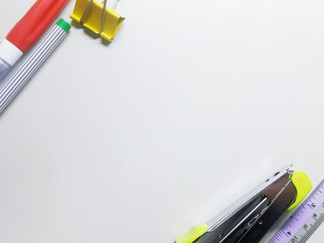 Indoors  Paint No People White Background Close-up Day Business Finance And Industry One Man Only Color Office Only Men Office Tools Tools Pencil Backgrounds White Background Indoors Pen White Color Finance No Person Communication Tool Kit High Angle View Education Copy Space