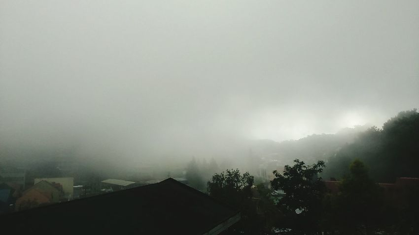 Tranquil Scene House Weather High Angle View Sky Foggy Fog Roof Day Scenics Nature