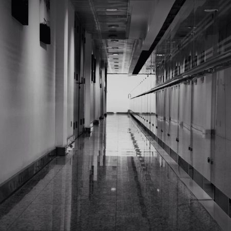 Blackandwhite Long Hallway