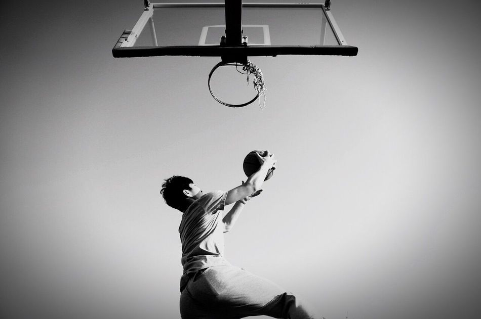 Dunk Basketball - Sport Sport Low Angle View Motion Taking A Shot - Sport Basketball Hoop Copy Space Scoring Playing Men Ball One Person Activity Competitive Sport Basketball Player Making A Basket Skill  Day Outdoors Leisure Games Jordan NBA Lebron James