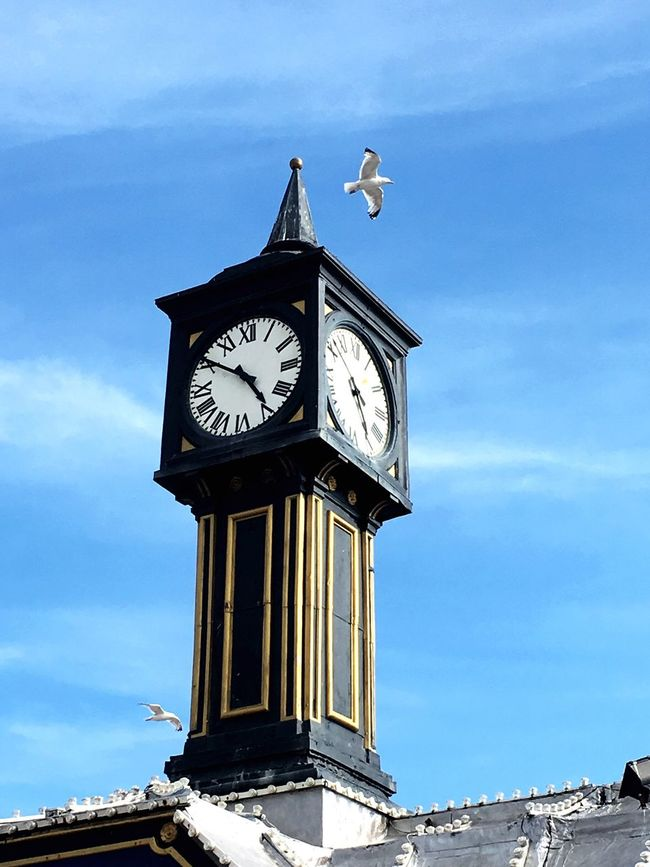 Clock tower in Brighton pier entrance. Brighton Pier Brighton Beachphotography Sky Is The Limit Check This Out! Enjoying Life Seagull Everywhere Places I've Been Nature Hello World
