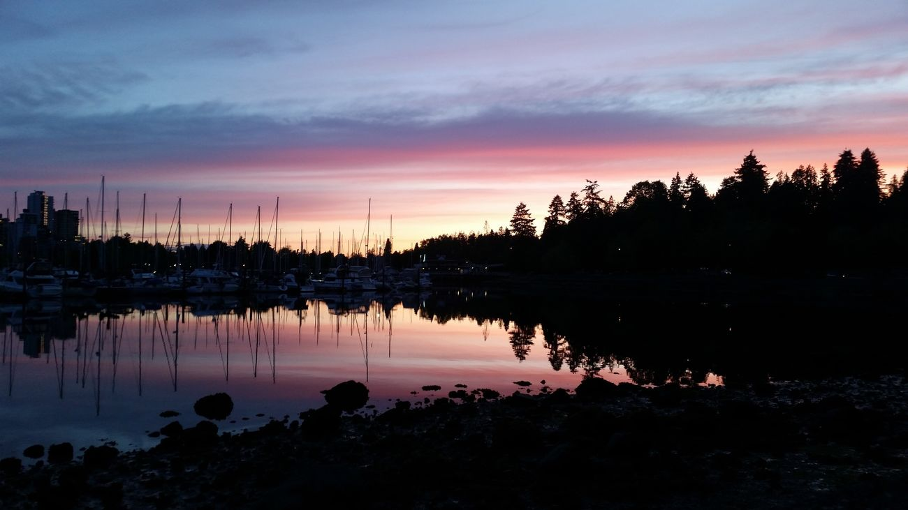 Vancouver sunsets don't need filters. Sunset Reflection Water Sky Beauty In Nature Scenics No People Outdoors Unfiltered Serene Outdoors Boats Harbour Evening Walk Beautiful British Columbia Vancouver Oh Canada EyeEmNewHere IPhoneography EyeEmNewHere EyeEm Best Shots