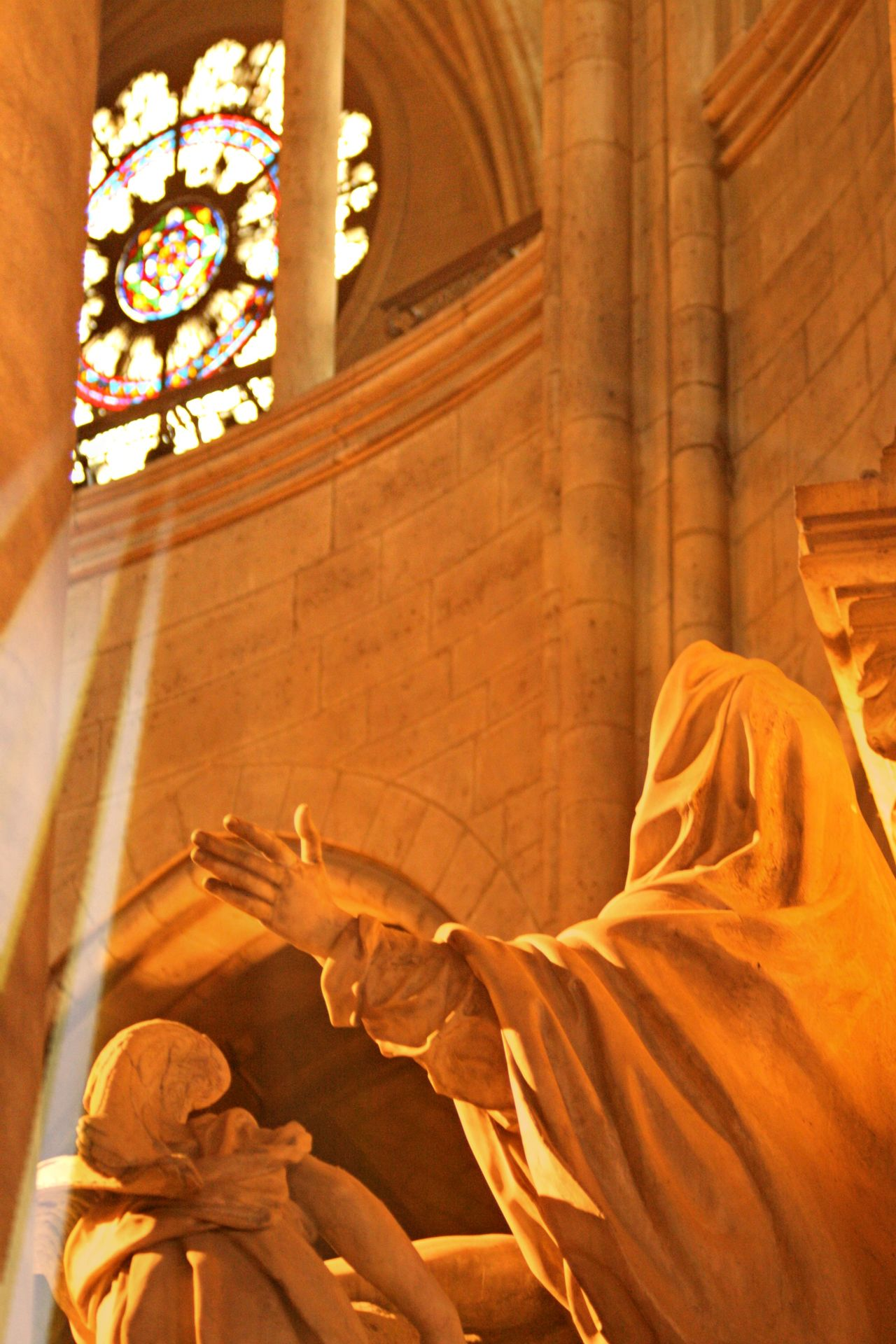 Carved Marble Statu Church Indoors  Marble Statue No People Paris Praise Stained Glass Window