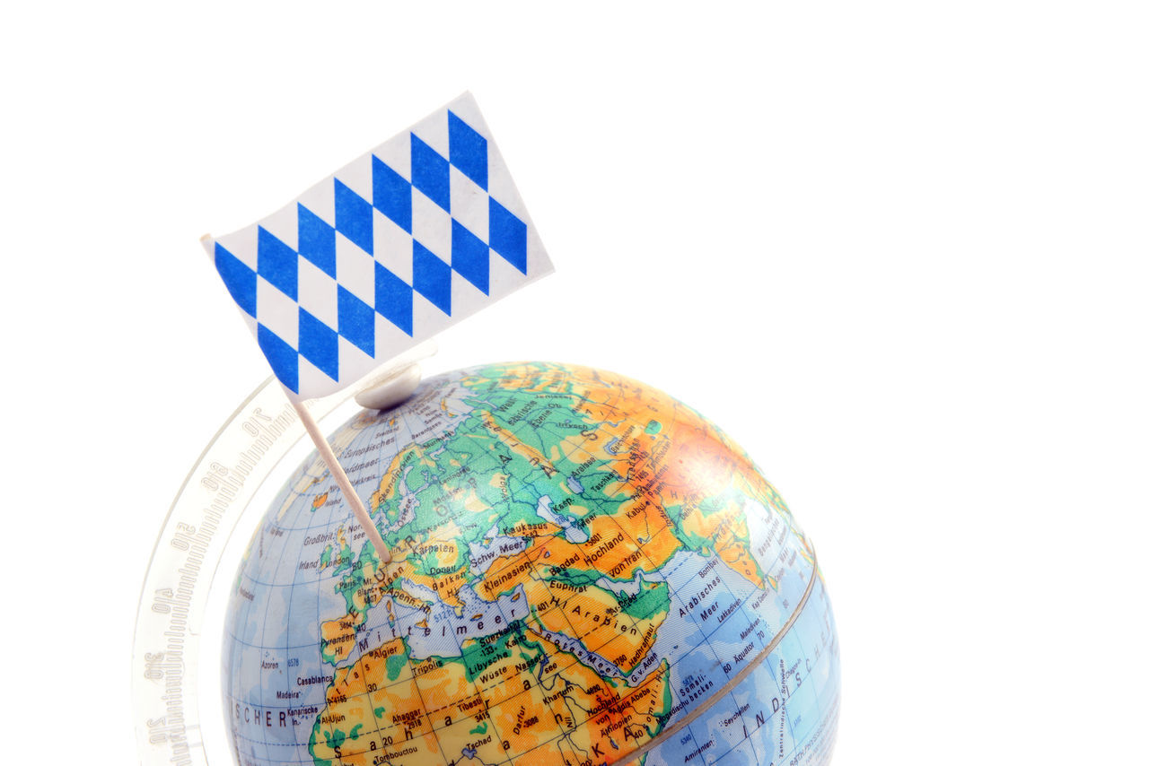 globe with bavarian flag stuckinb in bavaria, germany. copy space on top. Oktoberfest Decoration Oktoberfest?! Bayern Bavaria Flag Flags World Copy Space Europe Traveling Travel Reisen Map Oktoberfest Checkered