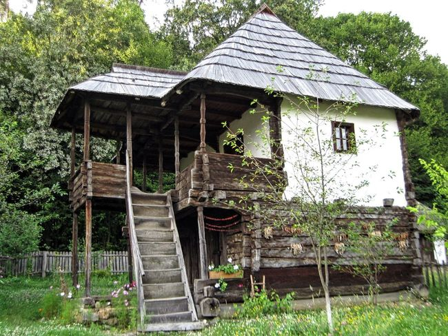 Traditional Romanian house - highlands area - visited in Poiana Sibiului Village Museum Architecture Building Exterior Built Structure Folklore Habitation House Hut Nature Old Popular Residential Structure Romanian  Traditional Village Wood Wood - Material Wooden