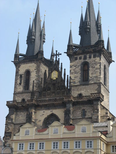Architecture Blue Building Building Exterior Built Structure Cathedral Church Day Gothic High Section Historical Building Low Angle View No People Outdoors Perspective Place Of Worship Prague Praha Religion Sky Spirituality Tourism Tourist Attraction  Travel Destinations Traveling