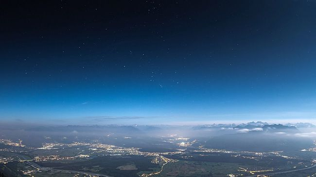 Feels like looking out of a space shuttle! View from the top of the 'Hoher Kasten' over the Rhein valley and towards the alps of Vorarlberg, Austria Rheintal  Austria Lights Fog Stars Switzerland Mountains