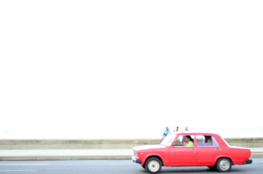Car On The Street Change Havana Havanna Journey LADA Malecon Past Red Car Socialism