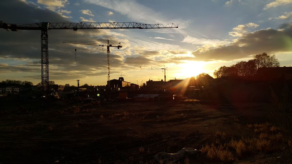 Sunset Sky Cloud - Sky No People Day Construction Site Crane Winter Ludwigshafen Outdoors City Light