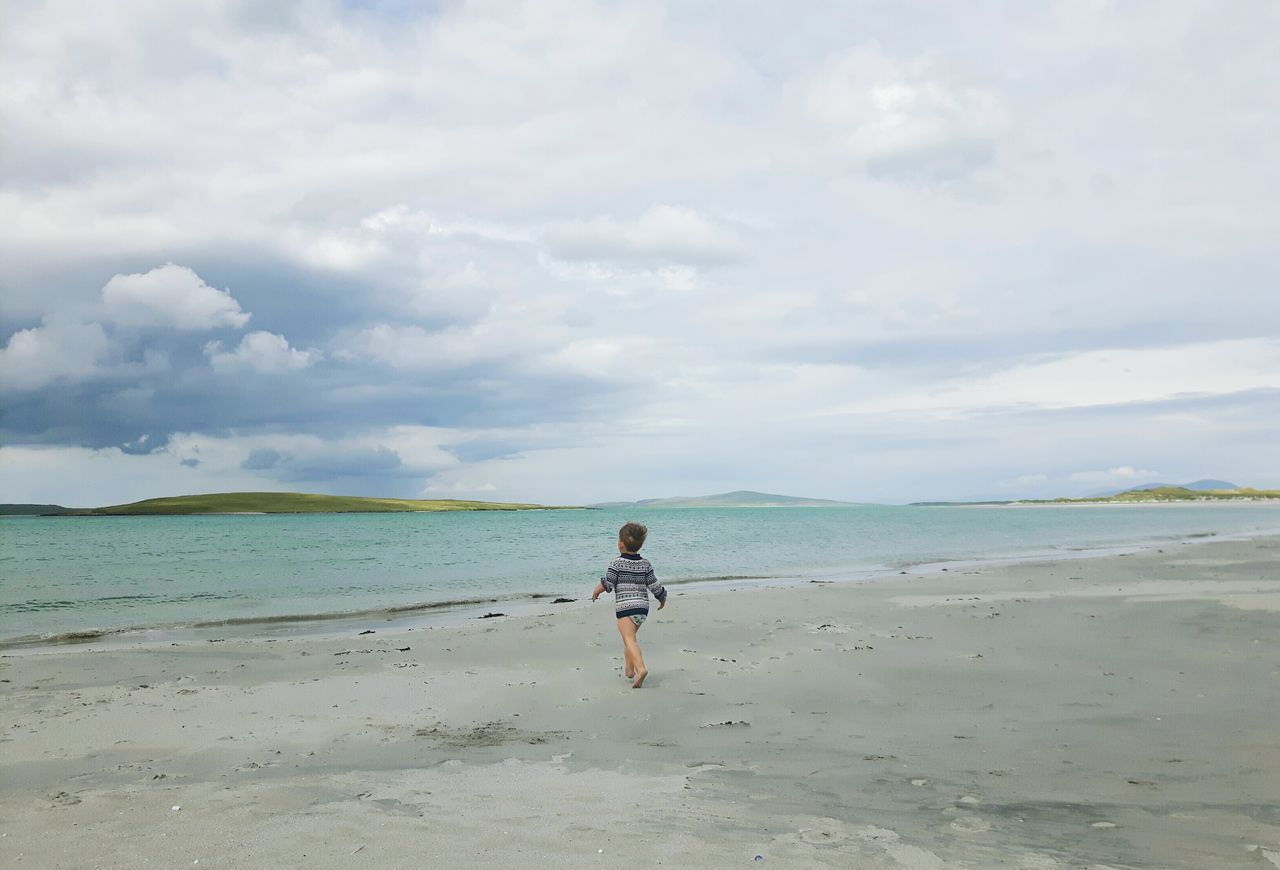 Beach Sea Sand Walking Full Length EyeEmNewHere Live For The Story One Boy Only Toddlersofeyem The Great Outdoors - 2017 EyeEm Awards The Portraitist - 2017 EyeEm Awards Scottish Beaches Scottish Beach Hebrides Outerhebrides Nortuist Uist Childphotography Child At Beach Clachansands Clachan Child Running On Beach Toddler Boy Beauty In Nature Child Place Of Heart