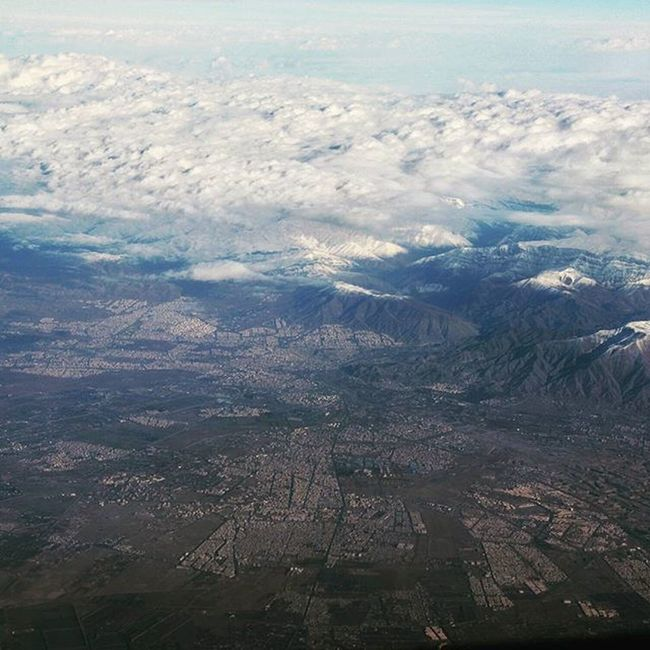 Tehran nestled in the foothills of Alborz Mountains . Iran Inflight Crewlife Persia