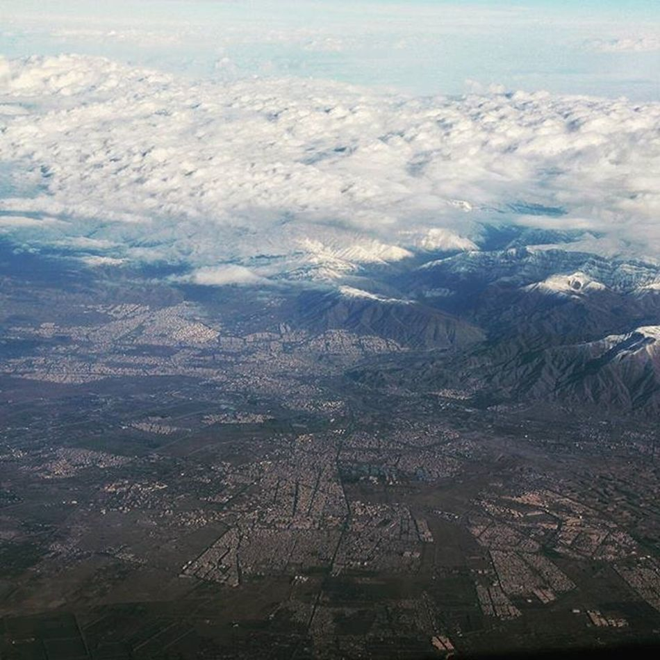 Tehran nestled in the foothills of Alborz Mountains . Iran Inflight Crewlife Persia