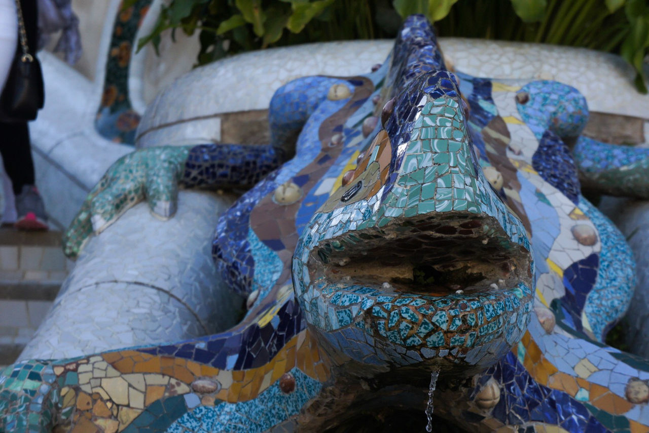 Animal Themes Art Barcelona Blue BYOPaper! Close Up Close-up Color Day Gaudi Lizard Mouth Nature Neighborhood Map No People Outdoors Photography Sculpture SPAIN Taking Photos The Street Photographer - 2017 EyeEm Awards Water