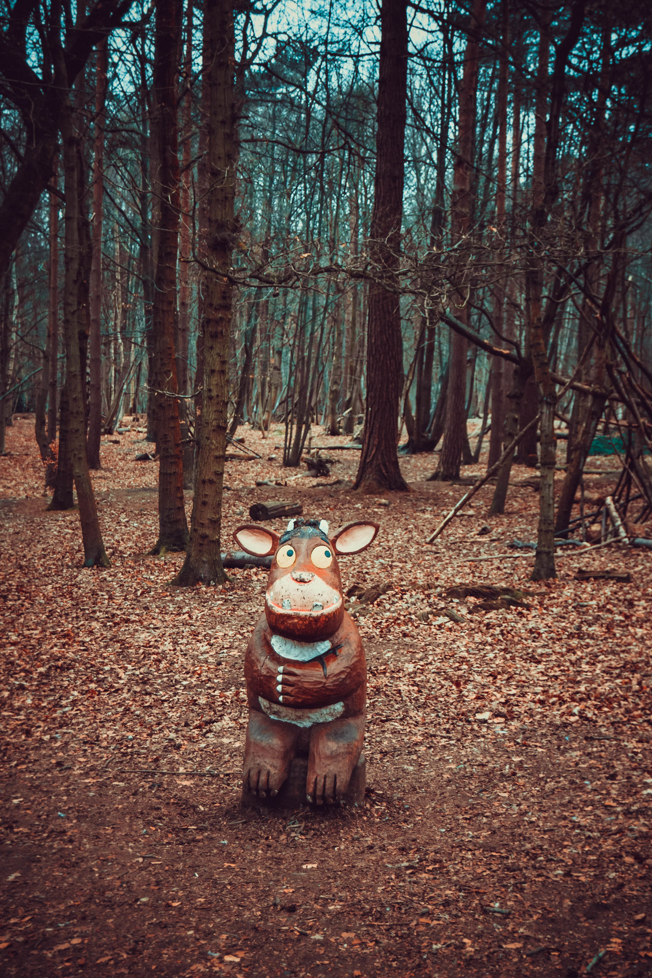 Day Forest Forest Walk Gruffalo Gruffalo Trail Gruffalo's Child Lots Of Leaves Nature No People Outdoors Trees Wooden Sculpture WoodLand