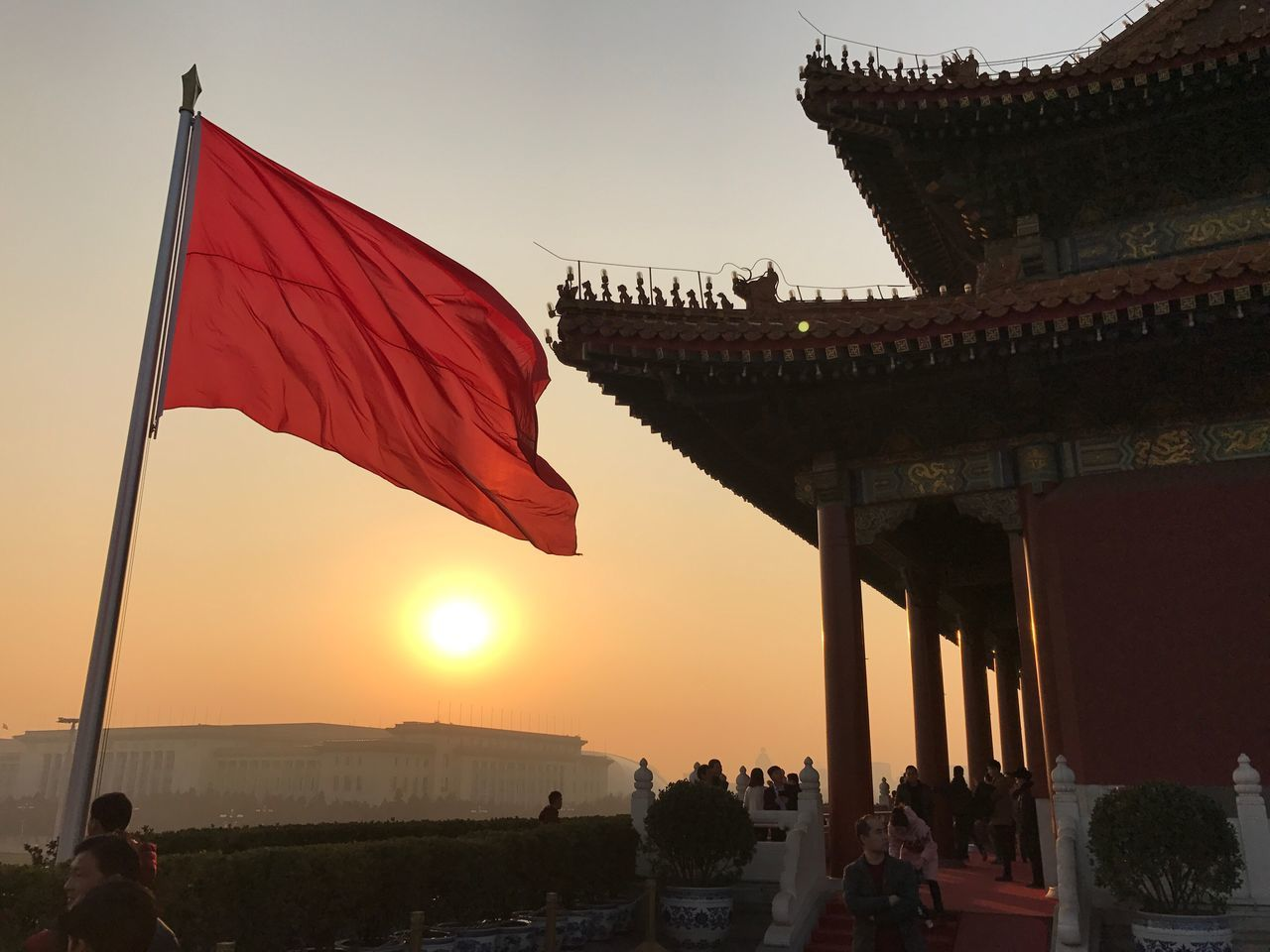 Built Structure Architecture Sky Sunset Building Exterior City Outdoors Day Flags Flag Red Sunlight Sun Forbidden City Tiananmen Square Palace Verbotenestadt Smog Enjoying The Sun Sunset_collection Megacity Discovering ASIA Asian Culture Sundown