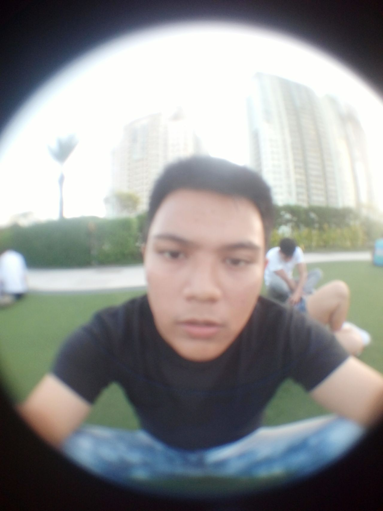 One Person One Young Man Only Adults Only Young Adult Portrait Headshot City People One Man Only Outdoors Only Men Day Sky Adult Architecture Skyscraper Blurred Perspective Blurred Motion Blurred FishEyeEm Fisheye Lens EyeEmNewHere