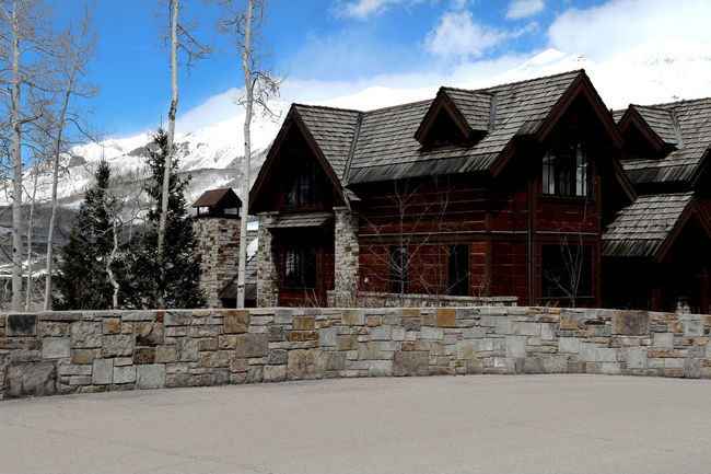 Architecture Breezy Clouds Cabin Snow Mountain Tell Telluride Wood - Material