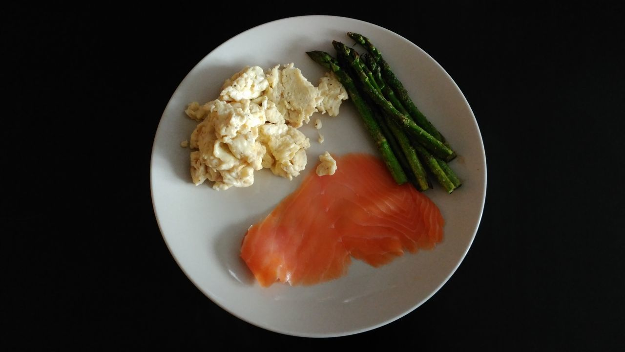 Food Black Background Food And Drink Ready-to-eat Healthy Eating Plate Freshness No People Indoors  ZTE AXON 7 Smoked Salmon  The Purist (no Edit, No Filter) Breakfast Scrambled Eggs Asparagus Home Cooked Clean Plate Clean Eating