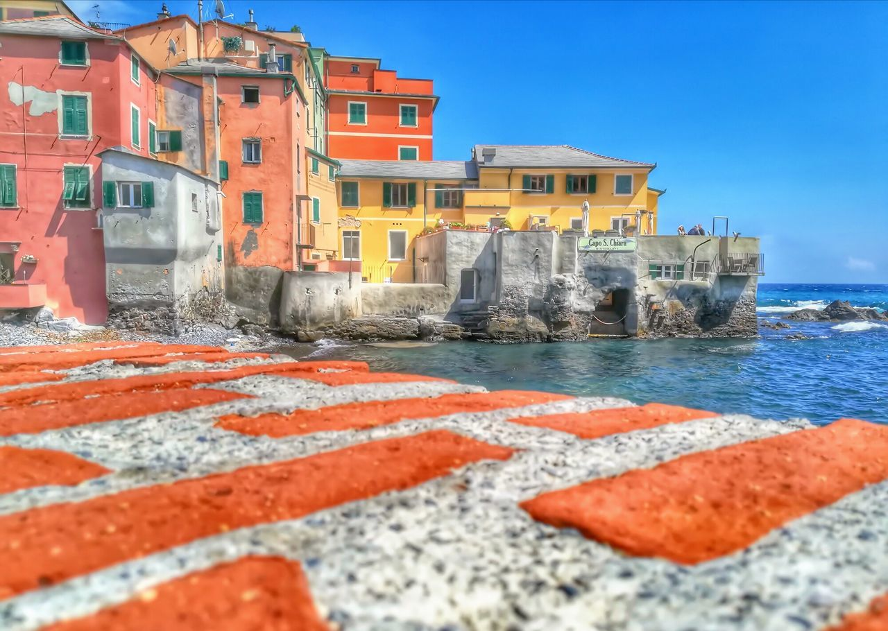 Architecture Building Exterior No People Sky Outdoors Sea Built Structure Red Day Water City Genovamorethanthis Genoa, Italy, Europe, Liguria Liguria,Italy Multi Colored Hdr_Collection Waterfront Village Scape. Village Lifestyle Fisherman House