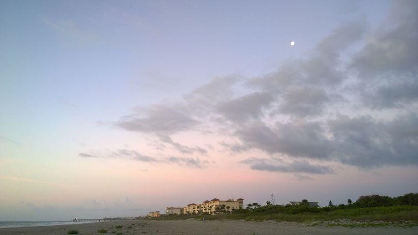 Beach Clouds Cocoa Beach Colors Moon Nature Pier Sunrise