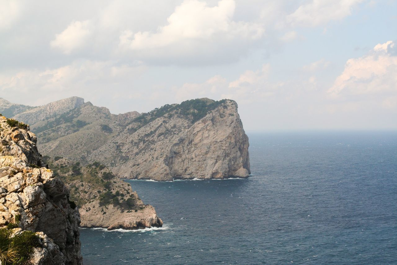Stone Coast OverviewPoint Overview Sea Mediterranean  Stone Coast Mountains Bluesky Sky Clouds Sky And Clouds Clouds And Sky Mallorca