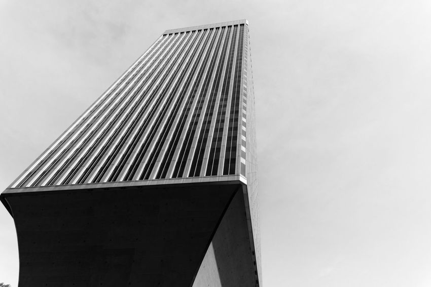 Rainier tower in downtown Seattle looking up in black and white. Architecture Building Business Copy Space Design Downtown Dystopian Growth Looking Up Modern No People Office Ominous Rainier Tower Seattle Sky Travel