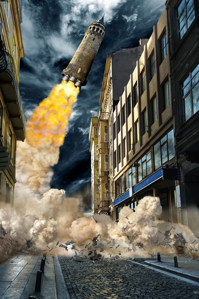 Salvation of Istanbul Series no : 2 Architecture Building Exterior Built Structure City City Life City Life Cloud - Sky Galata Istanbul Outdoors Science Fiction Smoke - Physical Structure Space Tall - High Turkey