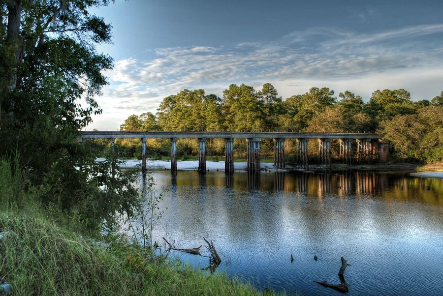 Architecture Bridge Bridge - Man Made Structure Built Structure Cloud Cloud - Sky Nature No People Outdoors River Rural Satilla River Sky Tranquil Scene Tranquility Tree Trussle Water