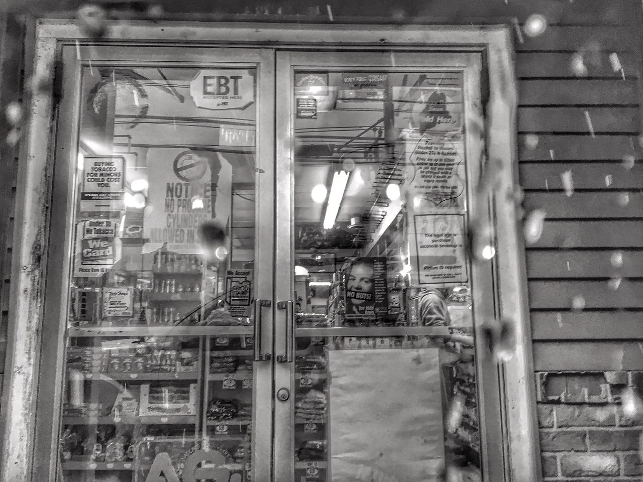 No People Day Architecture Outdoors Convenience Store Doors Looking Out Of The Window Waiting Snow Water Drops Groceries Retail  Blackandwhite Monochrome SWH., ME