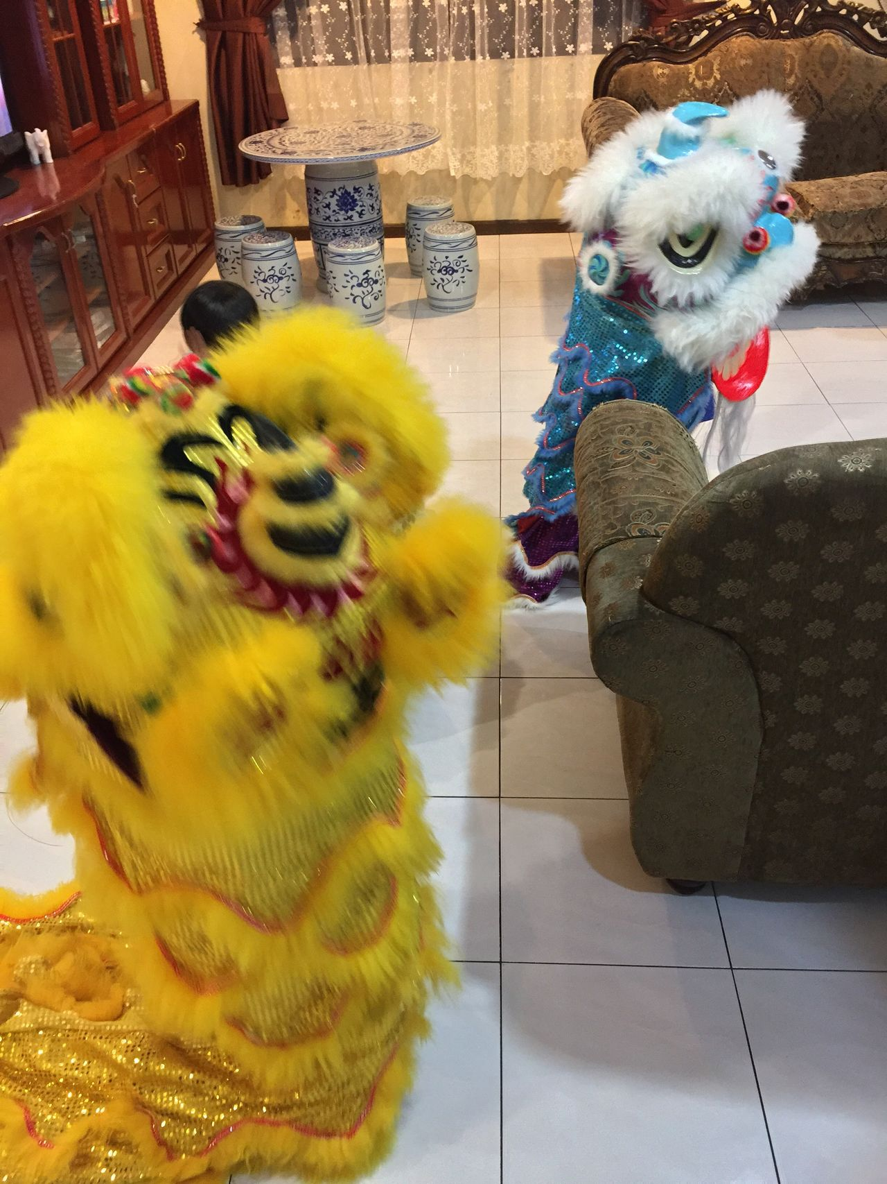 Kids playing Indoors  Lion Dance Chinese New Year Family Time Real People The Purist (no Edit, No Filter) At Home Cousins  Kids Being Kids Chinese Culture Festival Liondance Iphonephotography My Photography